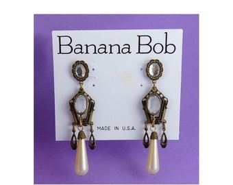 SALE Banana Bob Victorian Style Crystal and Faux Pearl Drop Earrings - 1980s, Old Stock