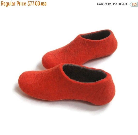 Womens Slippers Color Blocking Slippers - Red Gray Grey - Custom Made Slippers 100% wool slippers
