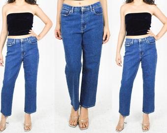 """1990's BLUE DENIM JEANS. High Waist. Straight Leg. Crop Leg. 90's Mod Modern Grunge Minimalist Jean. Dark Blue Denim. Size S/M - Waist 30"""""""