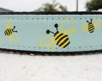 """Dog Collar Honey Bee 1"""" width Side Release or, Martingale collar, - include dogs neck measurement, see size guide & info. within"""