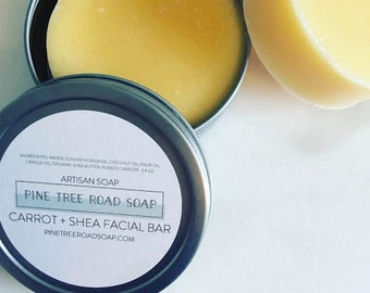CARROT + SHEA Round Facial Soap in Travel Tin. Soap Bar.  Facial Soap. Bar Soap.  Carrot Soap