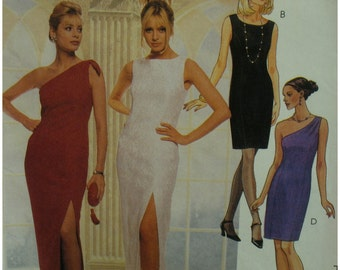 One Shoulder Evening Gown Pattern, Fitted, Straight, Sleeveless, Side Slit, Long/Short, McCalls No. 9032 Size 4 6 8
