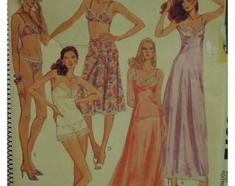 "Shoestring Strap Lingerie Pattern, Nightgown, Camisole, Bikini Panties, Dance Pants, Bra, Slip, McCalls 6972 UNCUT Size 14 (Bust 36""92cm)"
