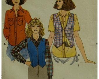 Womens Western Shirt, Vest Pattern, Collar, Collar Band, Patch Pockets, Long Sleeves, Cuffs, V-Neck Vest, Butterick No. 6267 Size 8 10 12