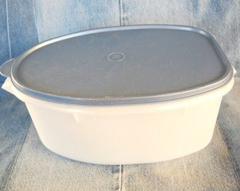 Vintage Tupperware Roast or Ham or Turkey Holder Flavor Saver in Pearlescent White with Slate Blue Seal
