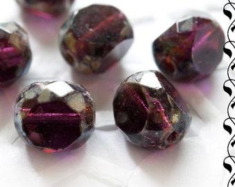 10 Czech 3-Cut Glass Beads 8mm Amethyst Picasso