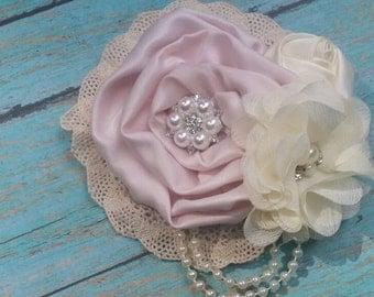 Vintage inspired blush satin ivory lace clip,birdcage netting,bridal clip, flower girl clip, vintage clip, ivory flower clip, pink clip