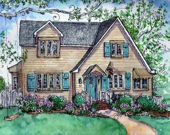 HOUSE PORTRAITS in Pen&Ink and Watercolor,Custom Portrait of Your Home,Painting of House,Drawing of House,Heirloom,Personalized Art Gift