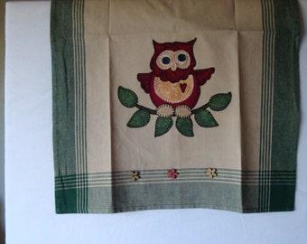 Decorative tea towel, kitchen decor, owl applique tea towel, appliqued tea towel, kitchen decoration, embellished tea towel