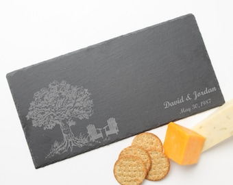 Personalized Cheese Boards, Custom Engraved Slate Serving Tray, Oak Tree Initials, Engraved Slate, Personalized Wedding, Housewarming D31