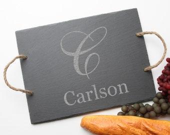 Personalized Slate Cheese Board, Custom Engraved Slate Cheese Board, Monogram, Personalized Serving Board, Wedding Gift, Housewarming D3