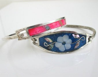 2 Hinged Bracelets - Vintage Alpaca Mexico w/ Pearl, Abalone, Pink & Blue Inlay