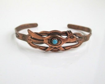 Solid Copper Roadrunner Cuff Bracelet - Very Small Child's, Worn