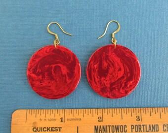 Marbled Red Bakelite Pierced Earrings - Vintage, Large Size