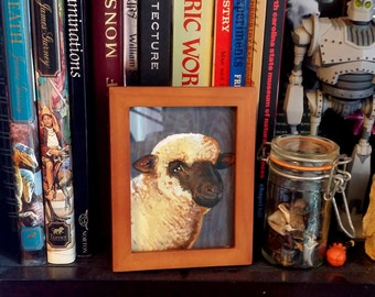 Original Framed Painting Oxford Down Sheep