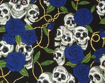 Skulls and Roses print fabric 100% cotton