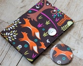 Small notebook & mirror set covered in woodland print fabric - fox, hare, bird, squirrel. Removable cover