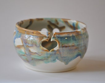 Yarn Bowl for Knitting  Yarn Bowl in Tricolor Wheel Thrown Pottery