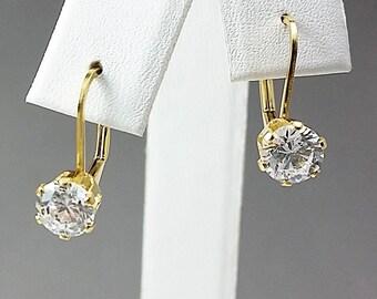 14K Gold Filled Lever-back CZ Earrings, 6mm CZs Earrings