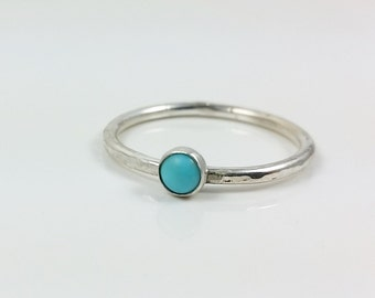 4mm Turquoise Ring, Stacking Ring, December Birthstone Ring