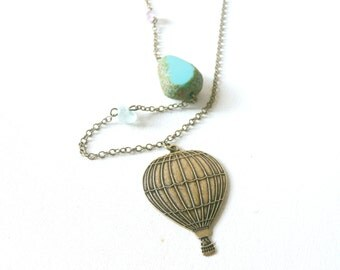 Hot air balloon necklace pendant antique ( escape, white, sky, cream, voyage, vintage ) 26