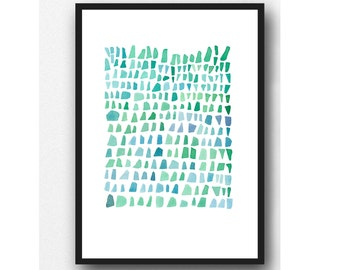 Turquoise sea glass watercolor painting blue green palette  watercolor print abstract painting beach finds