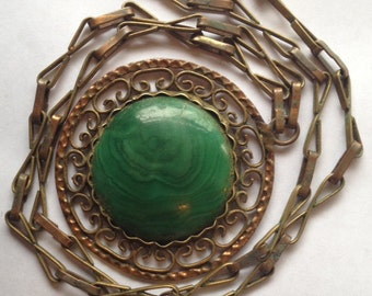 Sale Vintage Large Green Stone Pendant Necklace Brass and Copper Mexico