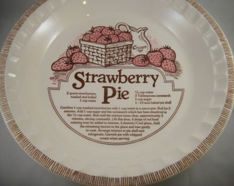 Strawberry Pie Recipe Pie Dish Ceramic Royal China by Jeannette