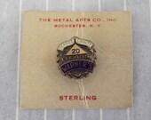 Vintage Warner's 20 Years Service Loyalty Lapel Pin Award Sterling Silver Vermeil Original Card Blue White Enamel Metal Arts Co Rochester NY