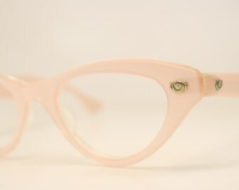 Unused Vintage Large Pink Cat Eye Glasses Authentic 1960's Frames