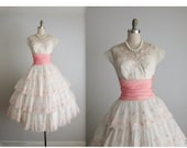 STOREWIDE SALE 50's Wedding Dress // Vintage 1950's Embroidered White Chiffon Wedding Dress Tea Gown S