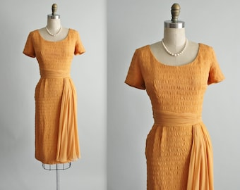 50's Chiffon Dress // Vintage 1950's Apricot Chiffon Fitted Cocktail Party Dress S