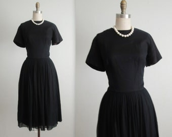 60's Chiffon Dress // Vintage 1950's Classic Black Chiffon Cocktail Party Dress S M