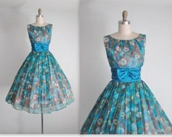 50's Floral Chiffon Dress // Vintage 1950's Blue Rose Chiffon Garden Party Cocktail Dress M