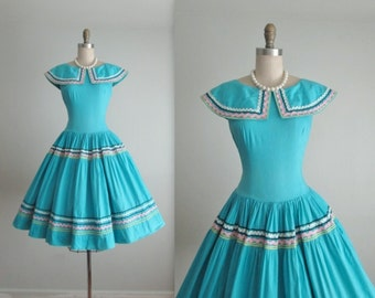 50's Patio Dress // Vintage 1950's Turquoise Patio Full Garden Party Summer Dress M