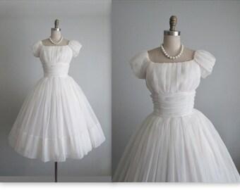 50's Chiffon Dress // Vintage 1950s Ruched White Chiffon Full Tea Wedding Dress S