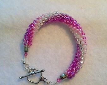 Pretty In Pink Beaded Kumihimo Bracelet *FUNDRAISING ITEM*