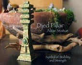 The Djed Pillar with Ankh Symbol and Green Aventurine Cabochon - Ancient Egyptian Symbols of Stability and Life - Handmade Altar Statue