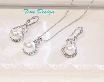 Bridal Jewelry Set, Wedding Jewelry Set, Bridal Pearl Necklace and Earrings JS-CZ11