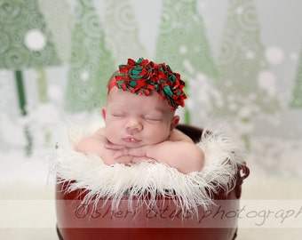 Red and Green Shabby Flower Headband - Christmas Headband - Baby Headband - Newborn Headband - Girl