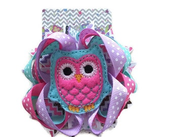 Owl hair bow, pink hair bow, owl clippie, baby hair clip, toddler hair clip, hair accessory, baby accessory, boutique hair bow