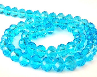 8mm aqua crystal beads, Chinese crystal aqua rondelles, qty 14
