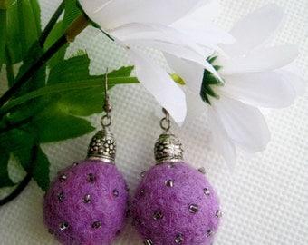 """A felt earrings """"Purple haze"""""""