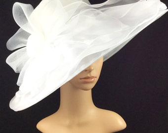 White Wedding Bridal Hat, White Organza Big Bow Hat, Kentucky Derby Hat, Church Hat, Dress Hat, Tea Party Hat