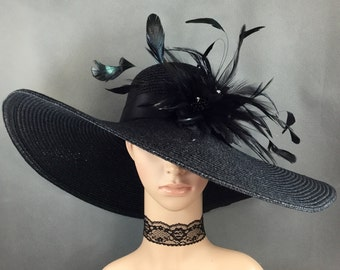 Black Kentucky Derby Hat with Black feathers, Derby Hat, Church Hat, Dressy Hat ,Formal Hat, Wedding Hat,Special Occasion