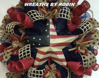 RWB Rustic Wreaths, Patriotic Wreaths