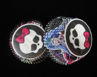 Monster High Cupcake Liners, Monster High Parties, Monster High Cupcakes,  Kids Parties, Baking Cups, Muffin Papers, Cupcake Liners- Qty 25