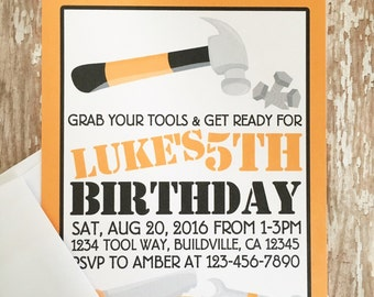 12 tool party invitations with envelopes, tool birthday party invites, orange and black boy birthday invite, 5x7 size
