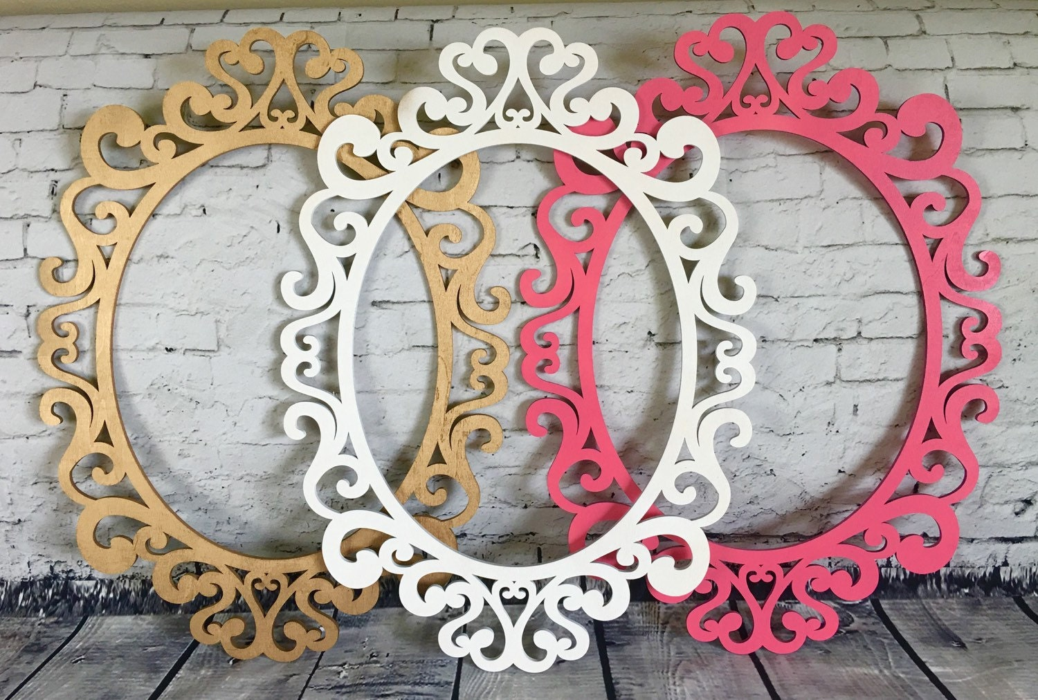 Large oval ornate open frames nursery decor wall gallery wall - Oval wall decor ...