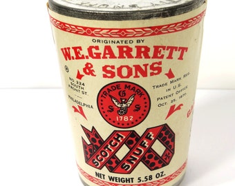 Vintage Garrett & Sons Glass Scotch Snuff Jar with Original Label and Lid, Tobacciana, Advertising